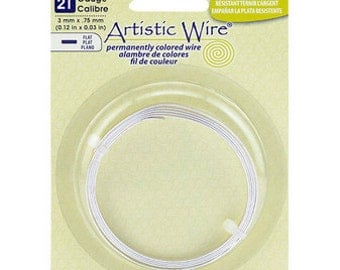 Artistic Wire 21ga 0.75mm Flat Tarnish Resistant Silver Plated Wire 3ft