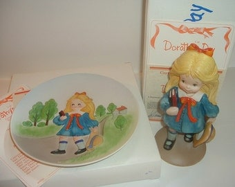 1980 Dorothys Day by Bill Mack Off To School Plate & Figurine w Boxes COAs