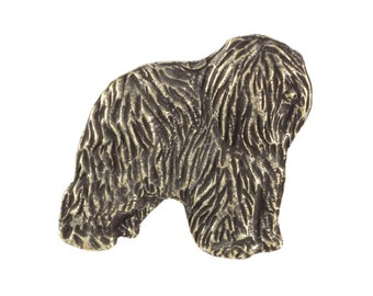 Polish Lowland Sheepdog (dark), dog pin, limited edition, ArtDog