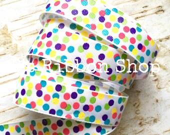"7/8"" Glitter Princess Confetti Dots USDR grosgrain ribbon"