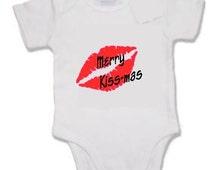 Merry kiss-mas print baby vest xmas christmas cute funny joke santa stocking filler