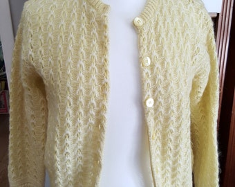 1950s Millaine College Town of Boston yellow sweater