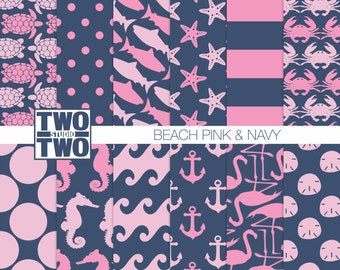 "Nautical Digital Paper: ""PINK & NAVY PATTERNS"" with Turtle, Shark, Anchor, Starfish, Sand Dollar, Flamingo, Crab, Ocean Backgrounds"