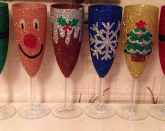 Christmas Glitter champagne flutes set of 6