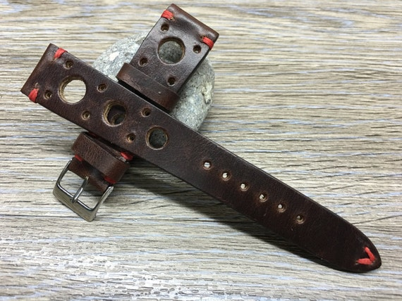 Leather watch strap | Leather watch band | Handmade Vintage Brown color real Leather Strap (racing strap, rally strap) for Rolex, IWC - 20mm
