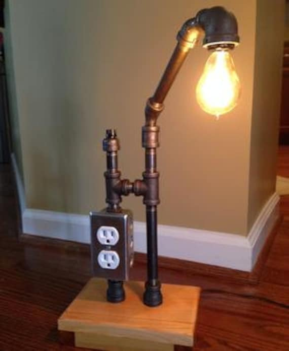 items similar to rustic steampunk lamp with charging. Black Bedroom Furniture Sets. Home Design Ideas
