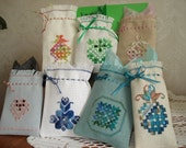 Mini Gift Bags in Hardanger Embroidery