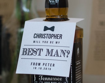 Rustic white Personalised 'Thank you for being my' or 'Will you be my' Best Man bottle tag -FREE postage in UK