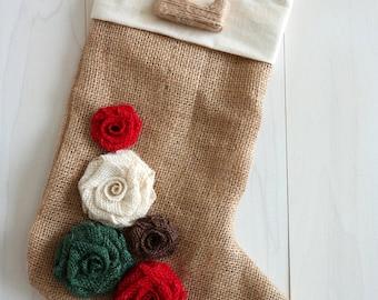 Custom Handmade Personalized Burlap Christmas Stockings, Shabby Chic Stocking, Initial Christmas Stockings