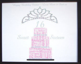 """New Personalised Girl's Sweet Sixteen Birthday PRINT ONLY,  Size Will Fit Any  8""""x10"""" Frame You Choose The Colour Unique Gift And Keepsake"""
