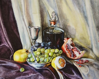 Still life with wine and pomegranate 35*50 cm. Watercolor  by Elena Balaksheva