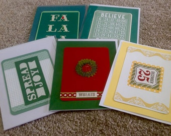 SALE-Mix of  5 Christmas Cards