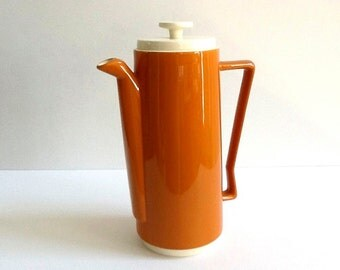 Mid Century Tall Ceramic Coffee Server, Burnt Sienna, 68 Ounces, Retro Serving