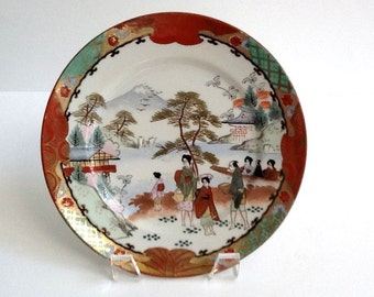 Dai Nippon Satsuma Plate, Hand Painted Decorative Plate, 1920's, Scenic Motif, Gold Trim, Made in Japan