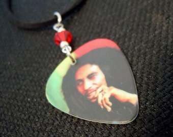 Bob Marley Guitar Pick and Black Suede Cord Necklace with Red Crystal