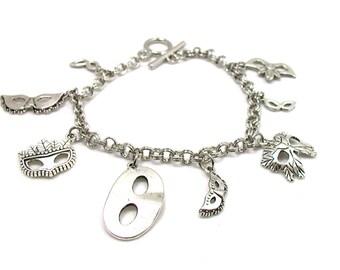 Mardi Gras Mask Charm Bracelet, Mask Charm Bracelet, Masquerade Charm Bracelet, Mardi Gras Jewelry, Mardi Gras Bracelet, Masquerade Jewelry