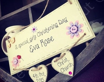 Girl/Goddaughter Christening wooden plaque with two hearts