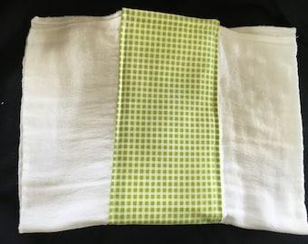 Green Gingham Burp Cloth
