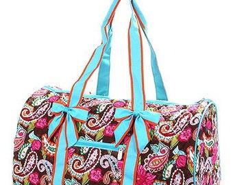 Personalized MultiColor Paisley & Floral Print W/ Turquoise Accents Duffle Bag QLP703-MULTTUR