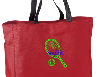 Personalized Tote Bag Embroidered Tote Bag Custom Tote Bag - Sports - Tennis - B0750