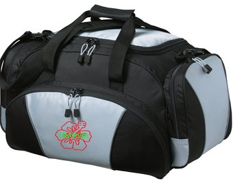 Hibiscus Gym Bag - Personalized - Monogrammed - Embroidered - Sports Bag - Sports Gift - Hibiscus Flower Duffle Bag - BG91