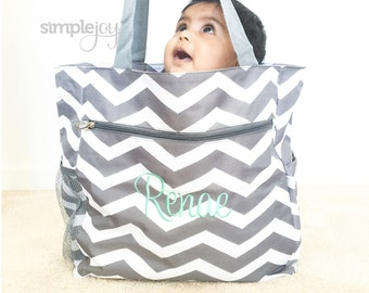 Chevron Diaper Bag, Gray Diaper Bag, Multipurpose Tote Bag, Beach Bag, Chevron Shoulder Bag, Monogrammed Gift, Work Bag, Gift for her, Mom