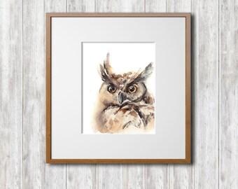 Owl Watercolor Print, Watercolor Painting Art Print, Bird Wall Art, Rustic Home Decor, Owl Art