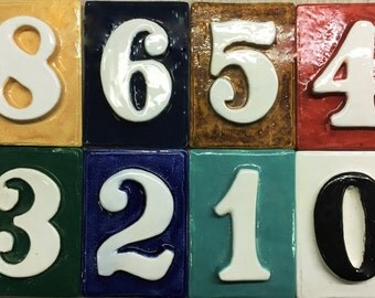 Address number tiles - weatherproof - with without holes 4 1/2 '' x 3 1/4 '' Glazed with your choice of color.