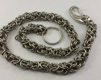Stainless Steel Byzantine Weave Chainmail Wallet Chain