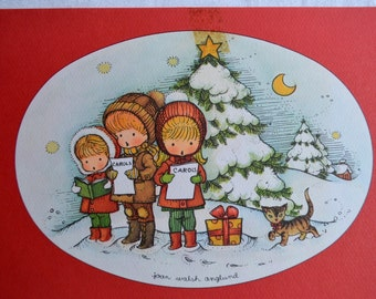 Vintage Christmas Card - Children Singing Carols - Used Joan Walsh Anglund
