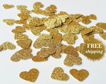 Gold Heart Confetti Gold Glitter Heart Confetti Gold Paper Hearts Glitter Gold Confetti Gold Wedding Table Scatter