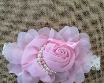 Pink flower and pearls baby headband