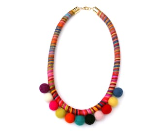 Pom Pom Necklace, Colorful Statement Necklace, Rope Necklace, Cotton Necklace, Felt Necklace, Pom Pom Jewelry, Textile Necklace