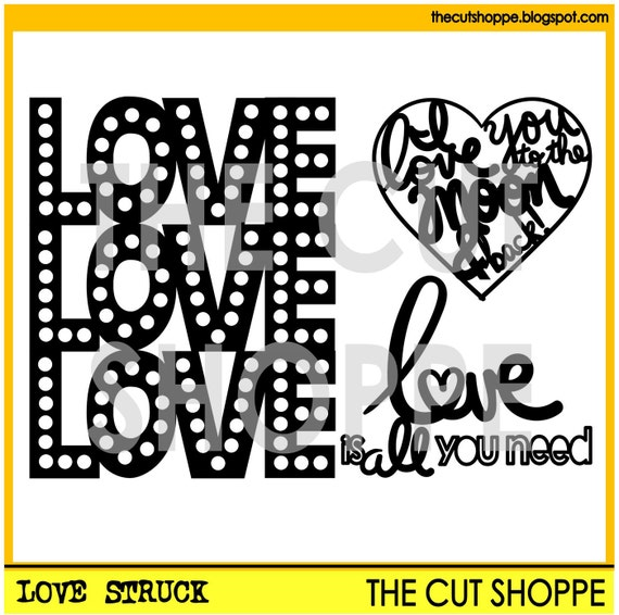 The Love Struck cut file set includes three love themed images, that can be used for your scrapbooking and papercrafting projects.