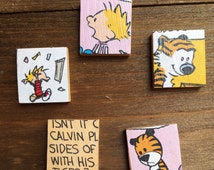 Calvin and Hobbes recycled book Magnet Set