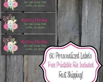 Flower & Chalk Return Address Labels - Set of 60 Return Address Labels - Personalized Return Address Label (FL1)