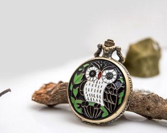 1 Enamel Owl Pocket Watch Necklace Wedding Gift Watch -C043