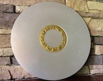 Kensington Aluminum Platter~Tray W/Brass Inlay~ Kensingtonware Raised Zodiac Symbols~1930s