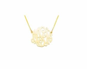 "14YMono085 - 14K Yellow Gold 0.85""  Monogram Necklace"