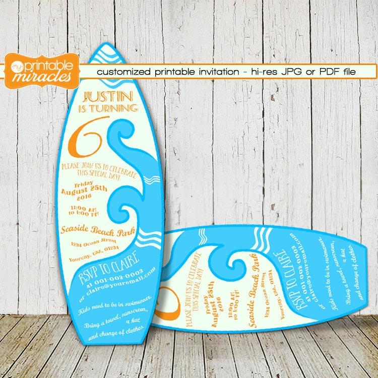 Surfboard Shaped Invitation Custom Digital Printable Surf
