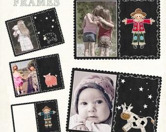 Postcard frames, Digital Frames, Country Frames, Scrapbook Frames, Frame Clipart, Fall Frames,Blackboard frames,  Instant Download