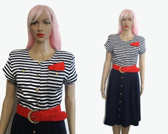 Sale 80s Nautical Dress Medium / Blue Striped Dress / Stripe Dress / 80s Colorblock Dress