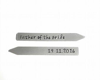 Collar Stays - Personalised with  Wedding Party and Date