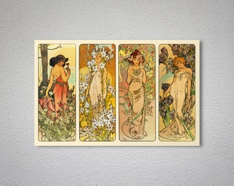 Alphonse  Mucha Les Fleurs, 1898 -  Poster Print, Sticker or Canvas Print