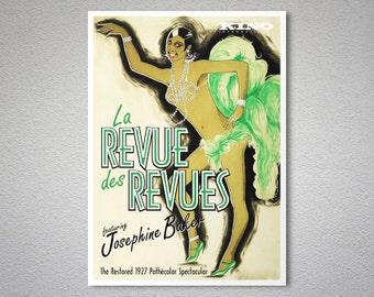 La Revue des Revues featuring Josephine Baker - Vintage Entertainment  Poster - Poster Print, Sticker or Canvas Print / Gift Idea