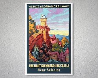 Alsace-Lorraine Railways -The Haut-Koenigsbourg Castle Vintage Travel Poster  - Art Print - Poster Print, Sticker or Canvas Print