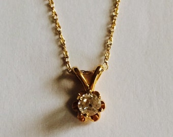 """14k yellow gold buttercup  diamond pendant; 16"""" chain;D-.14 carat; Gift for her; any occasion"""