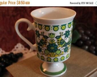 Christmas In July Royal Crown Arnart Smug Mugs Footed Coffee Mug - Green Folk Art, Birds