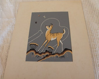 Vintage Native American Silkscreen Print of Fawn by Robert Chee - Navajo