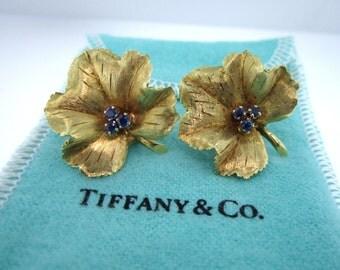 Vintage Tiffany & Co. 18K Gold Leaf  Sapphire Earrings Clip-On